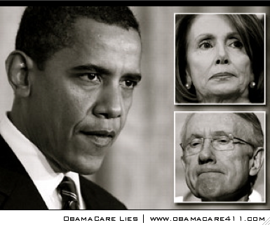 POTUS Barack Obama, Nancy Pelosi (D-CA), Harry Reid (D-NV) (clockwise starting left)